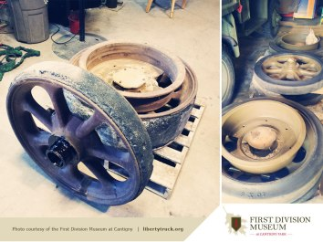 Our original front and back wheels… before and after making them pretty.