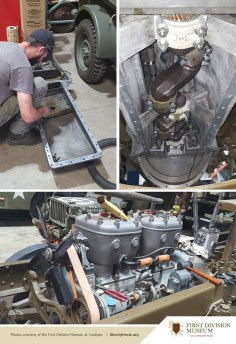 Drive shafts, brakes, engine, water pump, and oil pan work being done on the liberty truck.