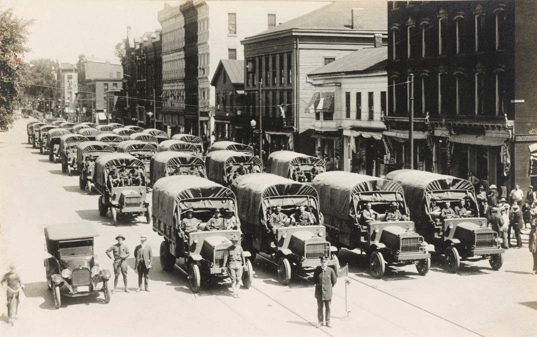 Brockway Motor Truck Co. delivery convoy, Cortland NY. November 25, 1918